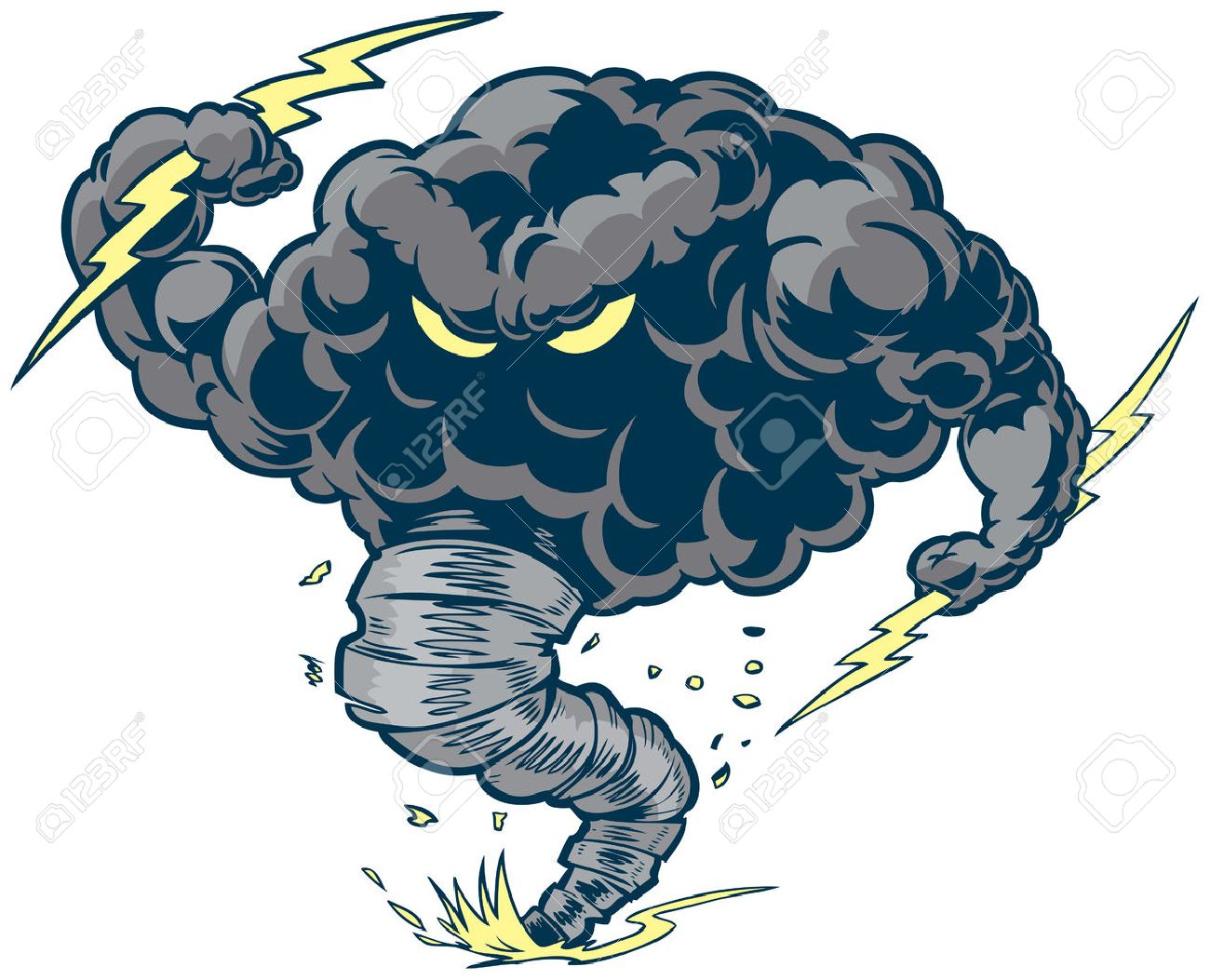 Vector Cartoon Clip Art Illustration Of A Tough Thundercloud Or Storm Cloud Mascot With Lightning Bolts