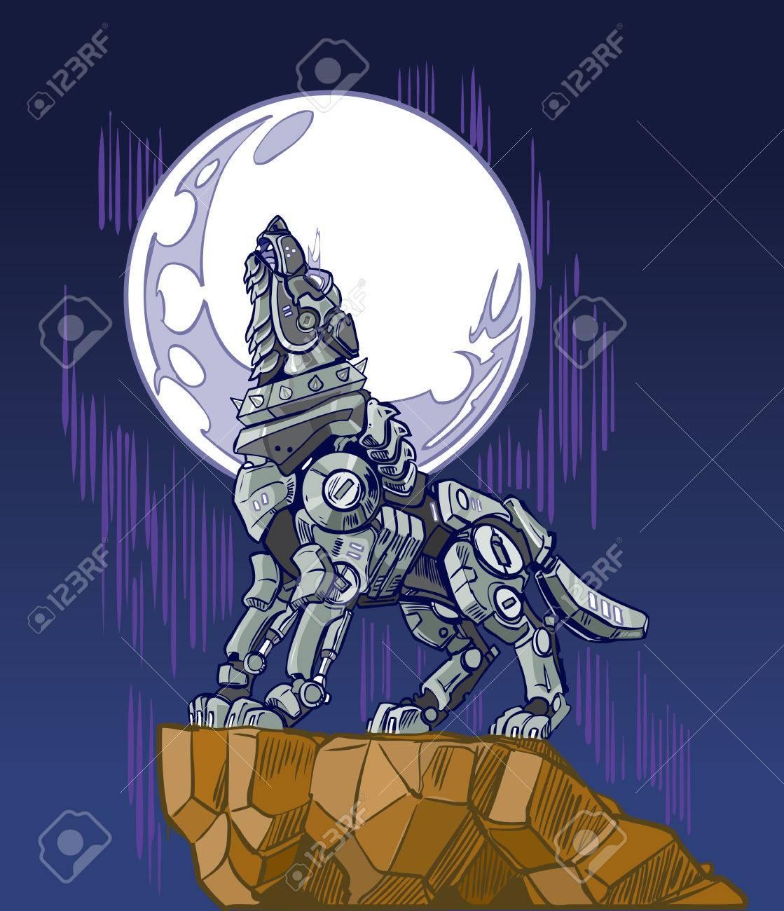 Illustration D Art Clip Dessin Anime D Un Robot Mecanique Loup Qui
