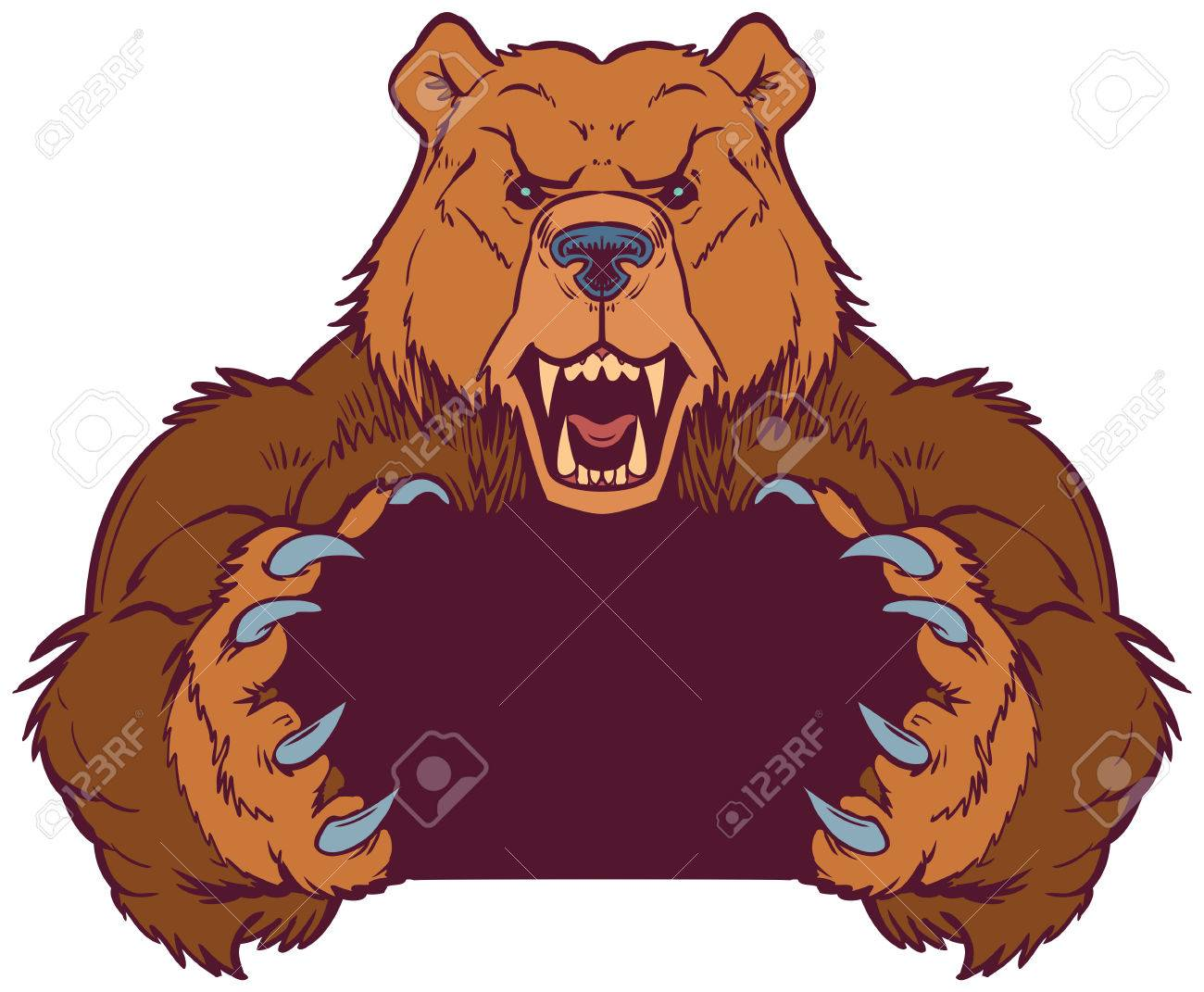 cartoon vector clip art illustration template of a brown bear rh 123rf com bear mascot clipart free