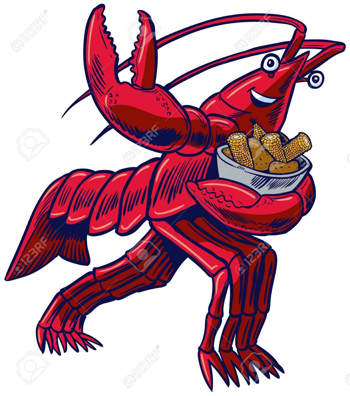 vector cartoon clip art illustration of a crayfish crawfish