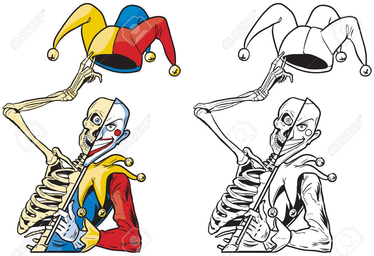 vector cartoon clip art illustration of a scary half skeleton rh 123rf com jester clip art pictures jester clip art pictures