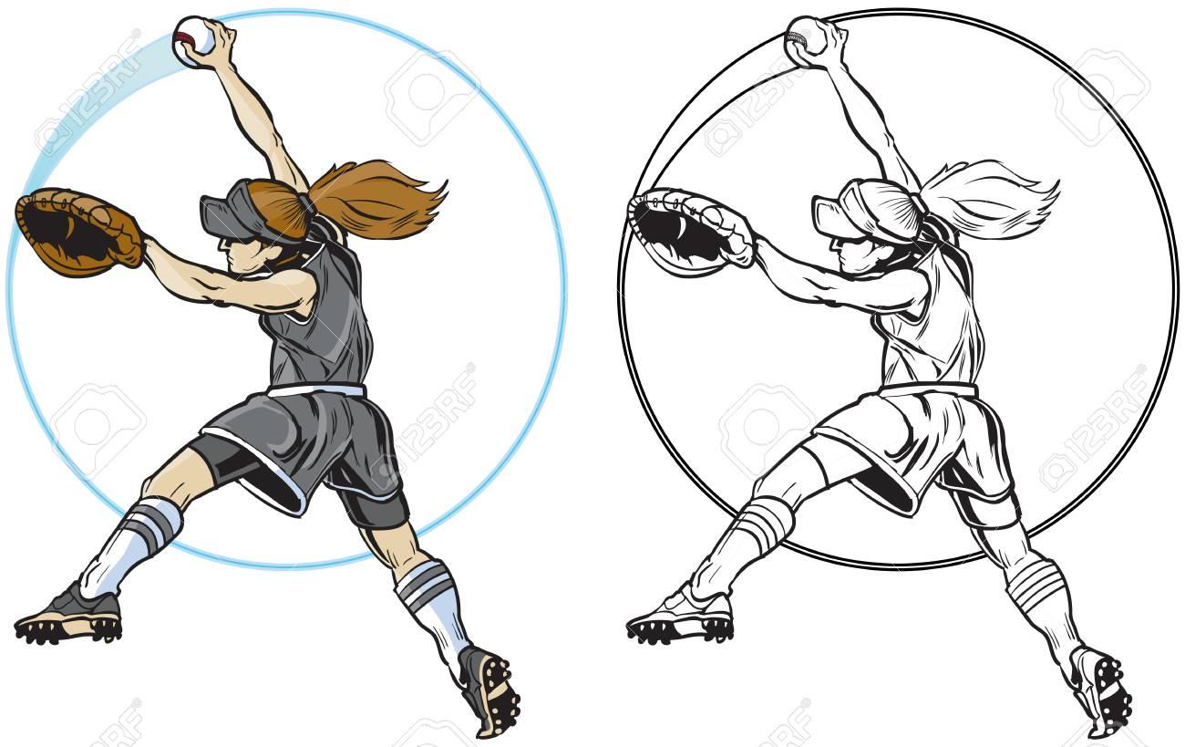 Vector Clip Art Cartoon Illustration Of A Caucasian Girl Or Woman