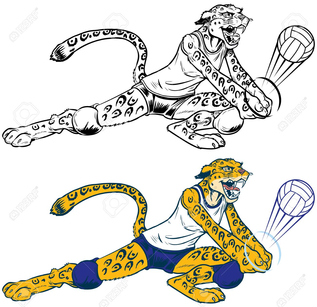 cartoon vector clip art illustration of a lady wildcat leopard rh 123rf com