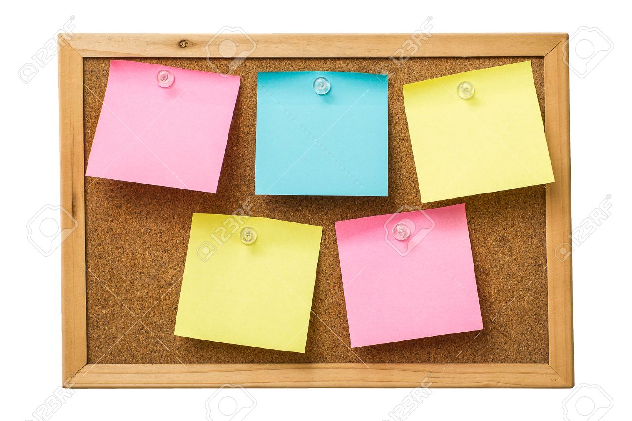 colorful sticky notes on cork bulletin board stock photo picture