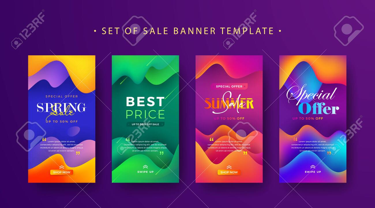Set Of Social Media Stories Sale Banner Design For Spring Summer Royalty Free Cliparts Vectors And Stock Illustration Image 125117003