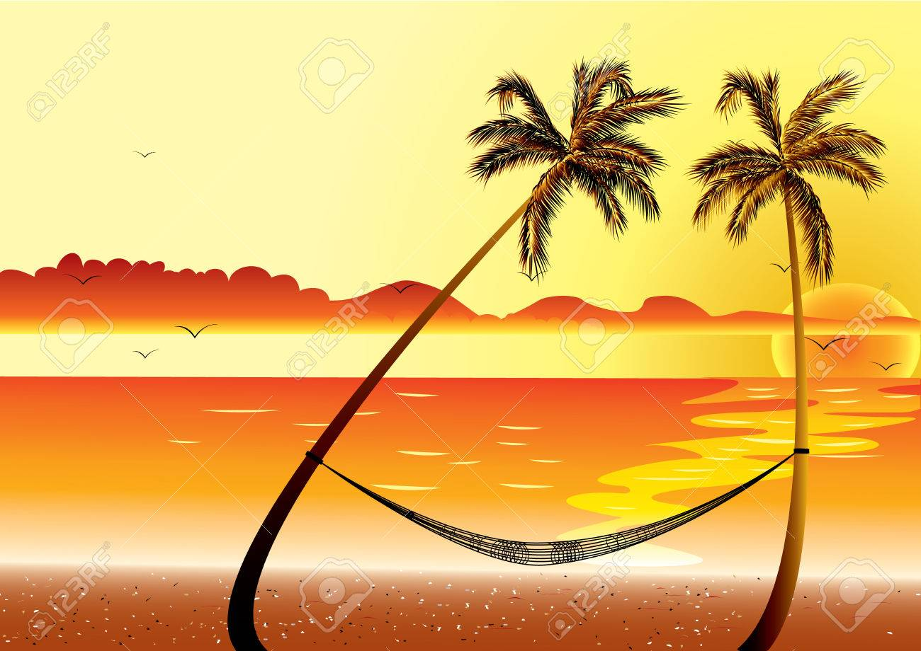 Sunset at Beach Shore and hammock with palm Stock Vector - 6513890