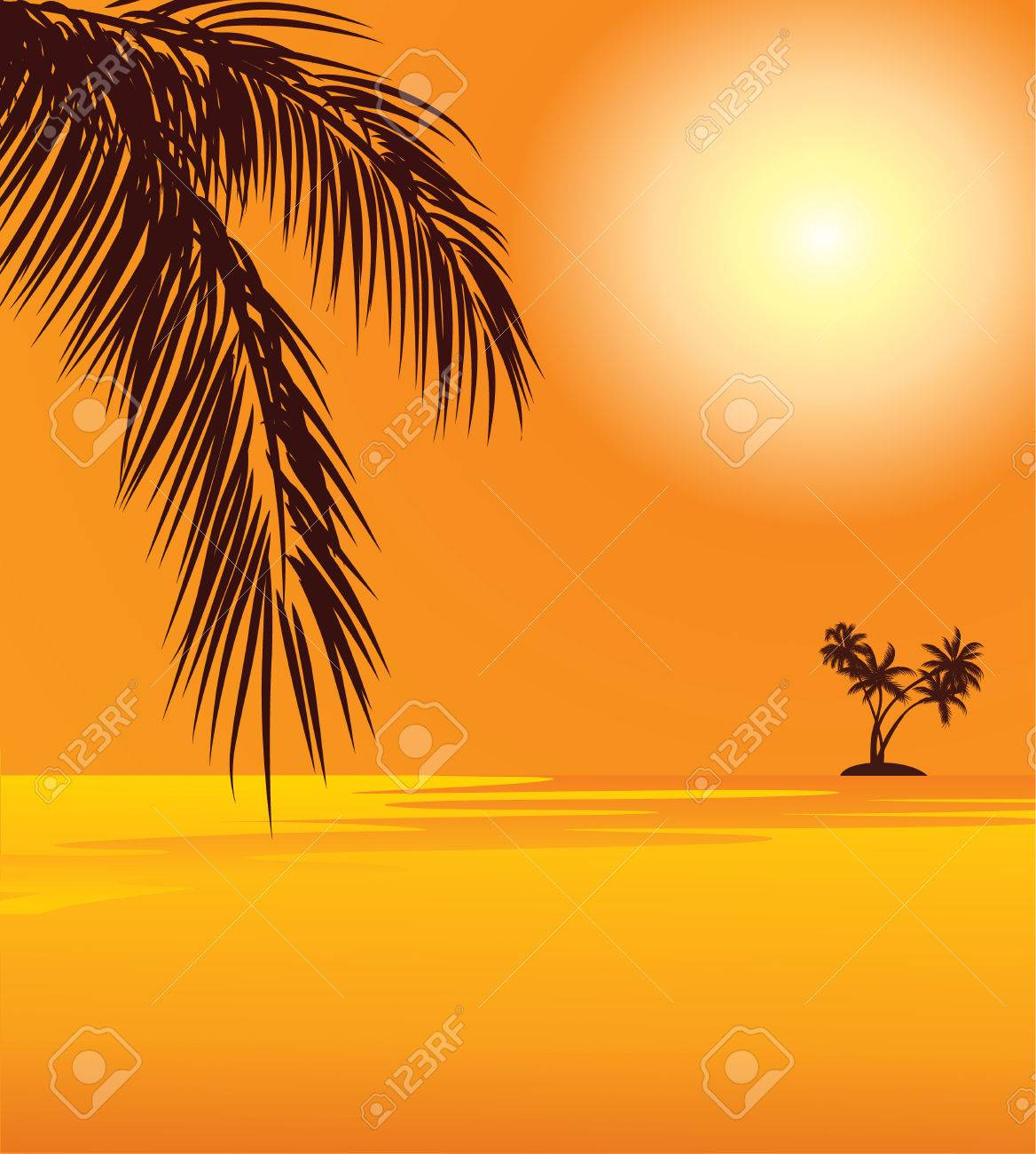 red sunset and palm on the beach Stock Vector - 6981324