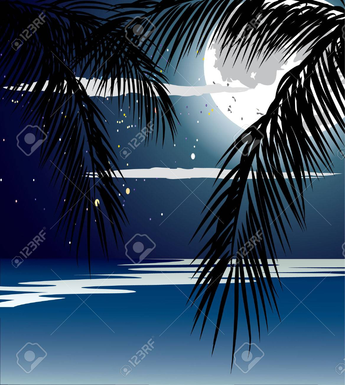 Ocean in the night, full moon and stars. Stock Vector - 7290599