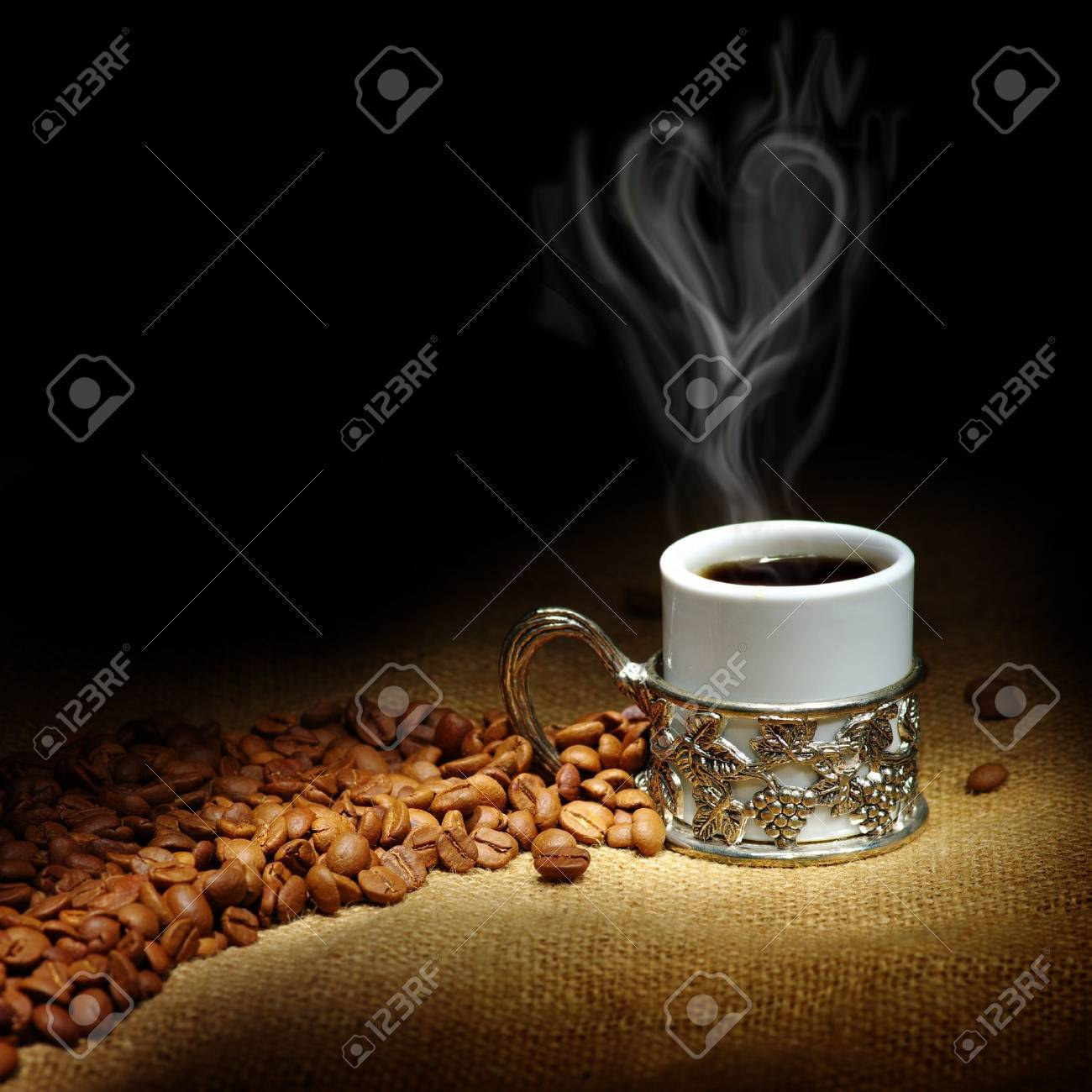 coffee beans with white cup Stock Photo - 9377250
