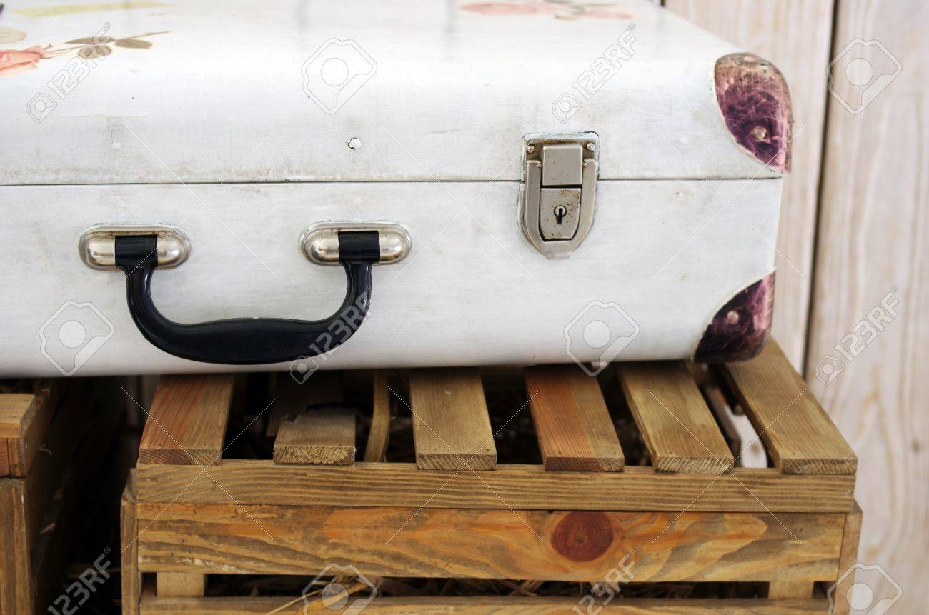 Vintage White Suitcase On The Box Stock Photo, Picture And Royalty ...