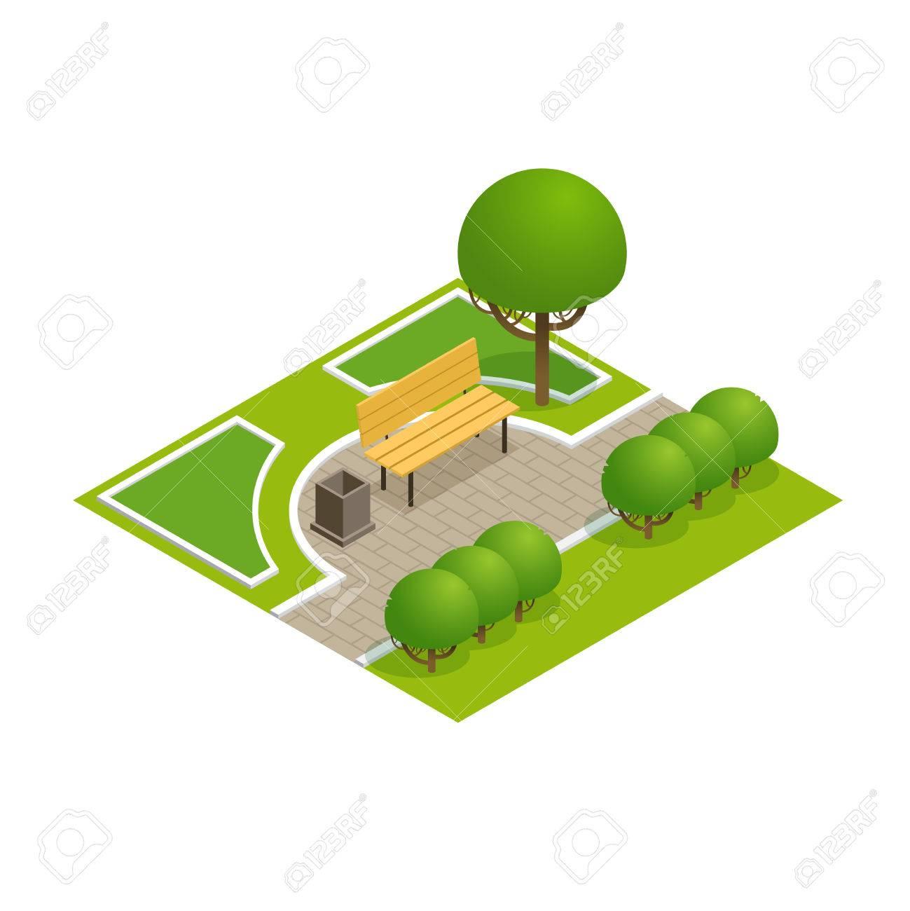 concept de parc avec des arbres, banc et trottoir en 3d de style
