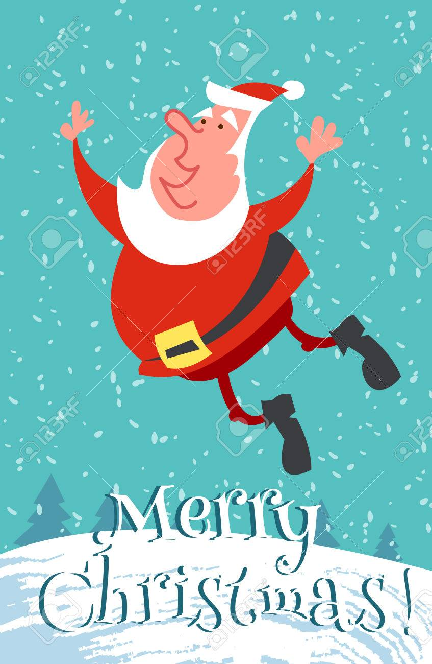 Funny Merry Christmas.Funny Merry Christmas Card With Happy Santa Claus Jump Vector