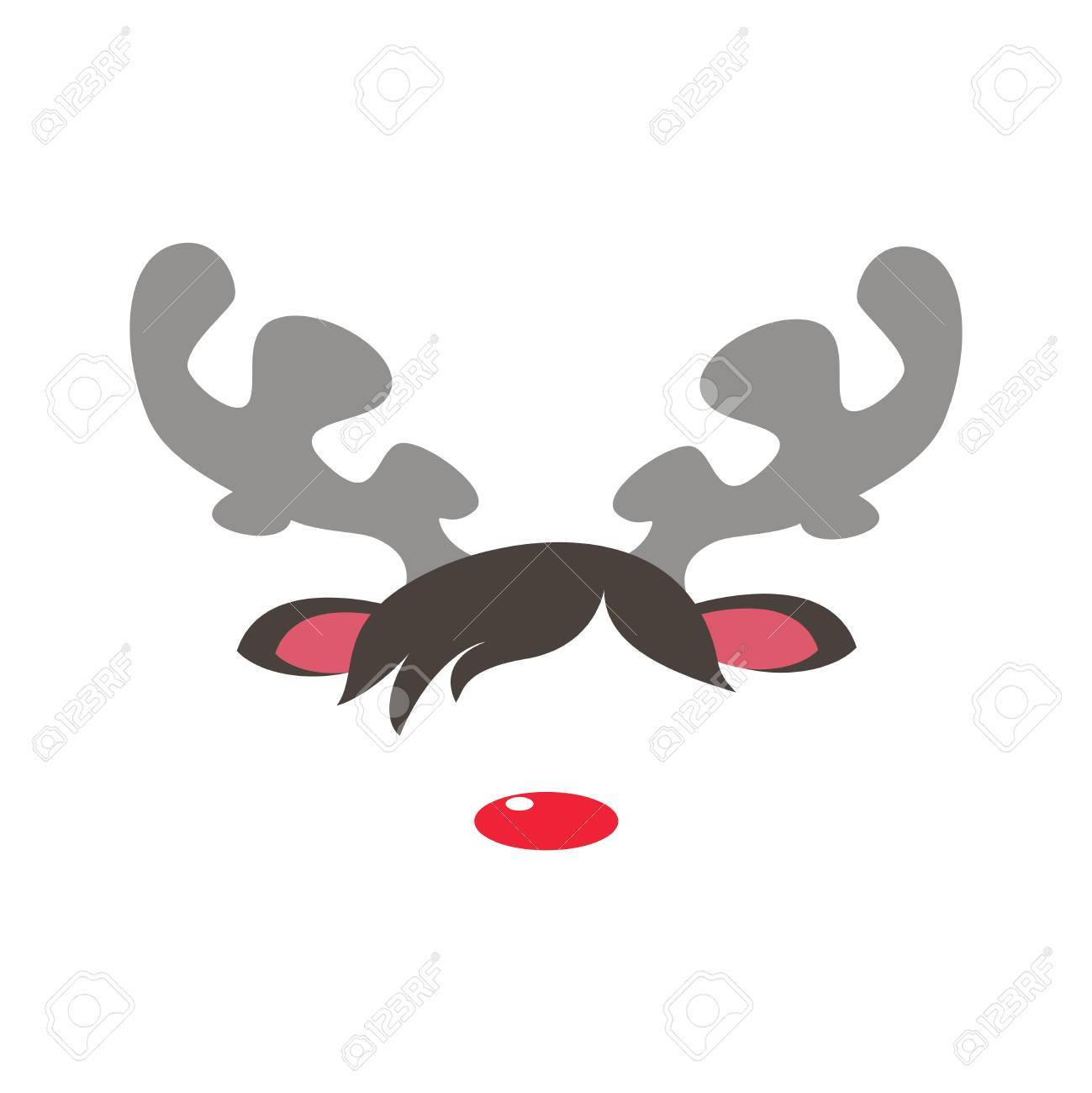 Carnival masks of rudolph reindeer red nose isolated white background. Vector cartoon illustration of christmas reindeer masquerade mask - 66460948