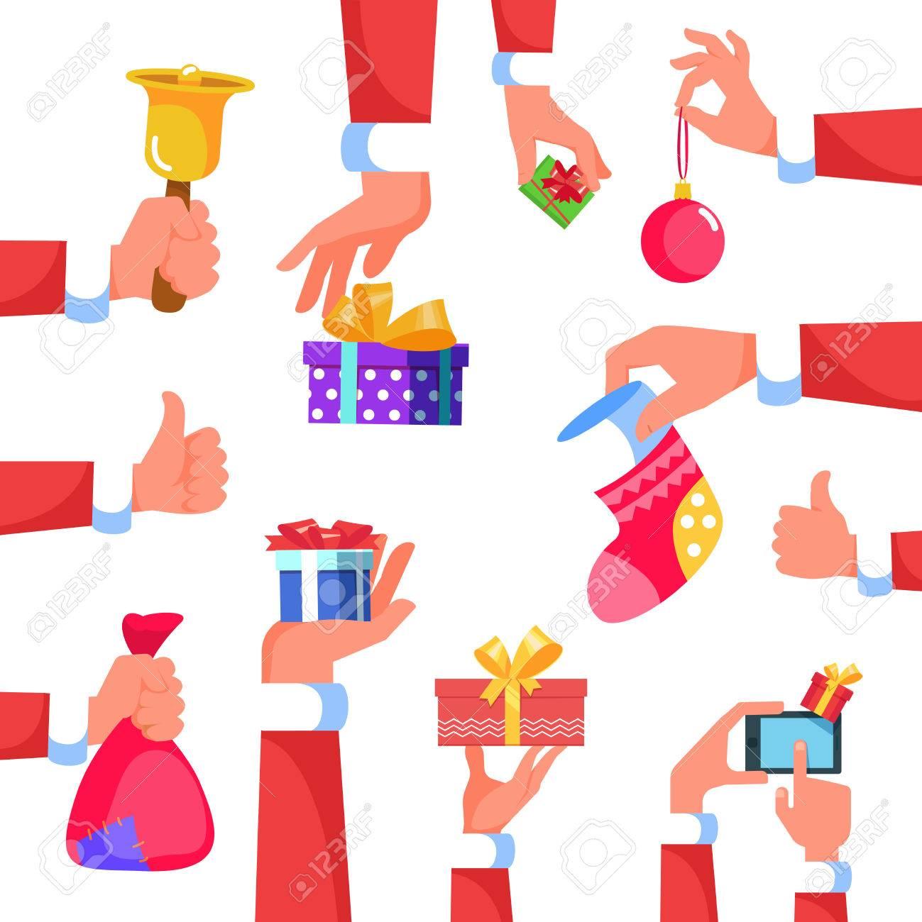 Set Symbol Hand Weihnachtsmann-Geschenk-Box Oder Verschiedenen ...