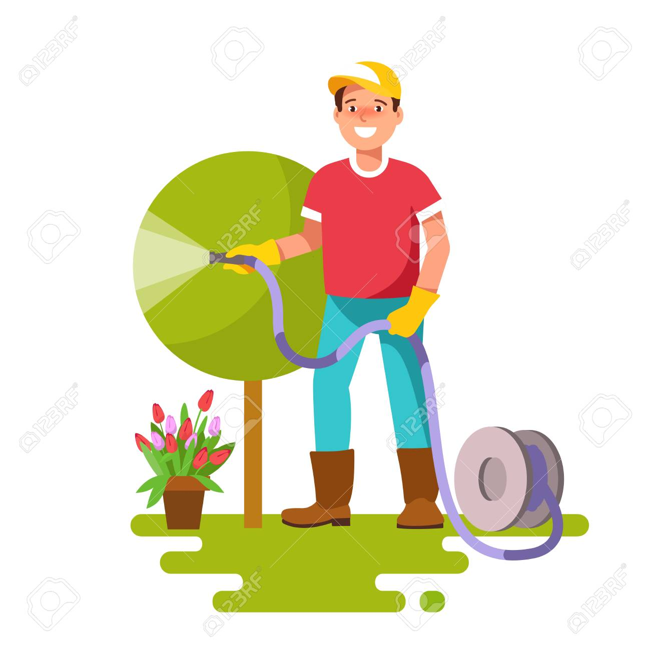 Man Watering Trees Of Three Sizes. Young Businessman Watering.. Royalty  Free Cliparts, Vectors, And Stock Illustration. Image 67168732.