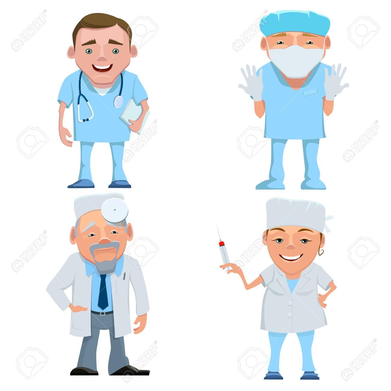 Doctor En Uniforme Dibujos Animados Feliz Sonriente Médico Aislado Seth Médicos Y Enfermeras Con Estetoscopio Máscara Y Jeringa Doctor Terapeuta