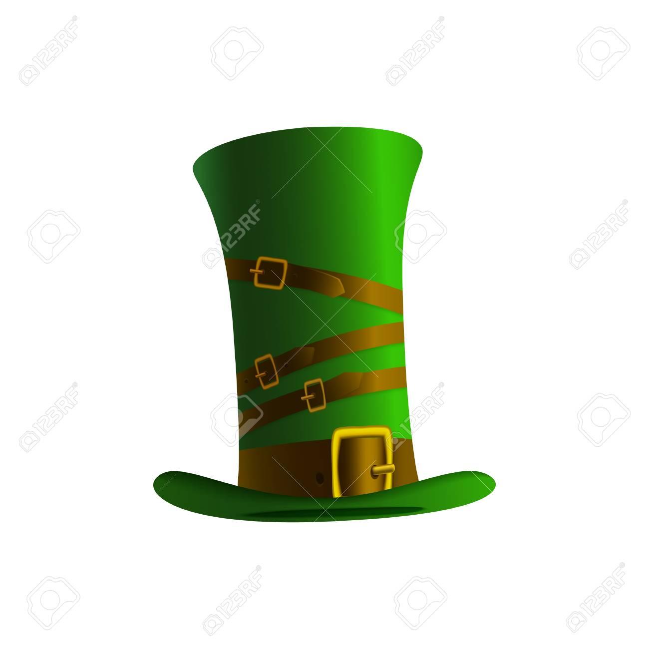 Foto de archivo - Ilustración de un sombrero de leprechaun sobre un fondo  blanco. Sombrero de duende verde para el día de San Patricio. 92790944c57b