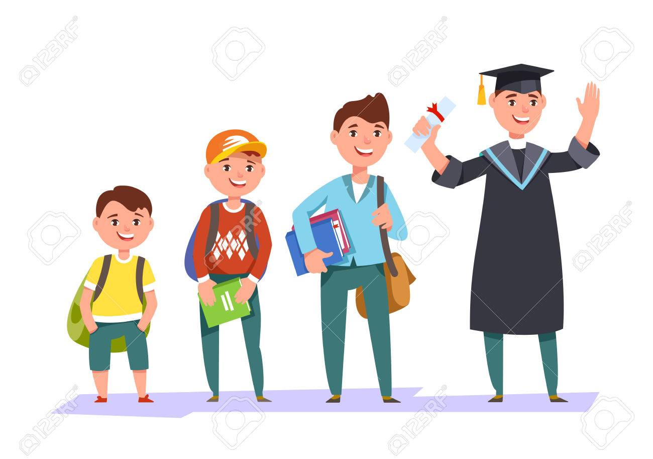 Set character different ages elementary school boy,secondary schoolboy, students of college, university and graduate . The stages of growing up man student - 79255598
