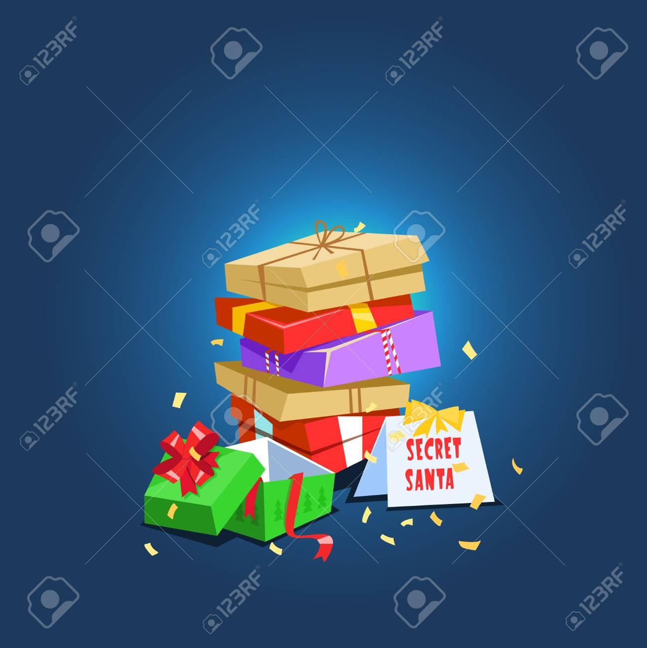 Christmas Celebration Cartoon Images.Vector Illustration Present Secret Santa Christmas Celebration