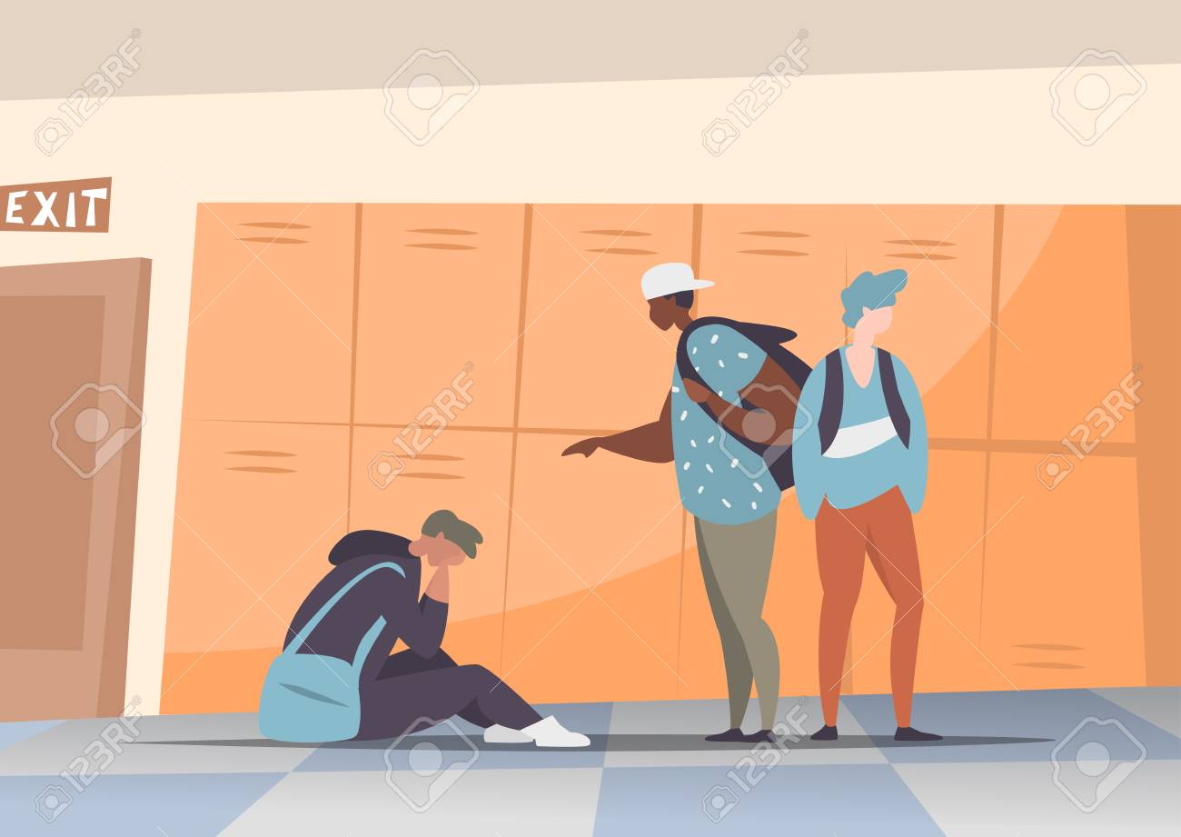 Vector illustration couple students bullying and suppress the guy sitting on the floor. Concept discrimination, racism and negative communication in school and society. Situations in school corridor - 104791878