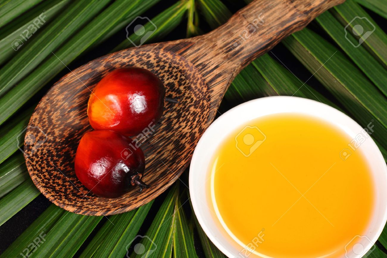 Oil palm fruits and a plate of cooking oil on leaves background Stock Photo - 21797814