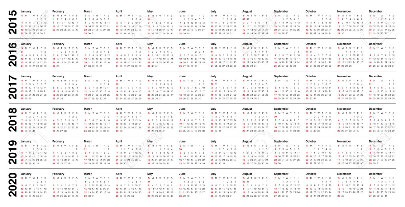 2016 2020 Calendar Simple Calendar 2015 2016 2017 2018 2019 2020 Royalty Free