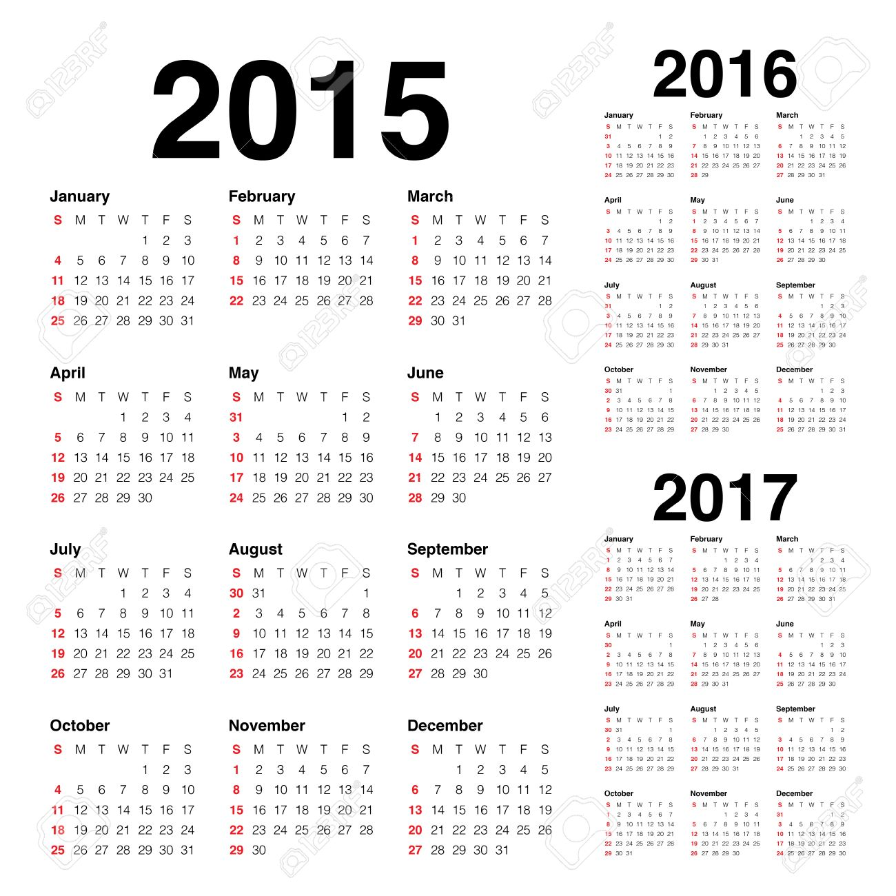 Simple Calendar 2015 2016 2017 Royalty Free Cliparts, Vectors, And ...