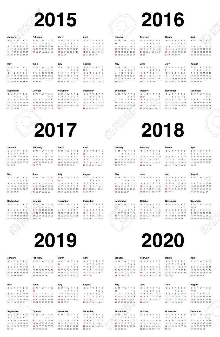 simple calendar 2015 2016 2017 2018 2019 2020 stock vector 34090513
