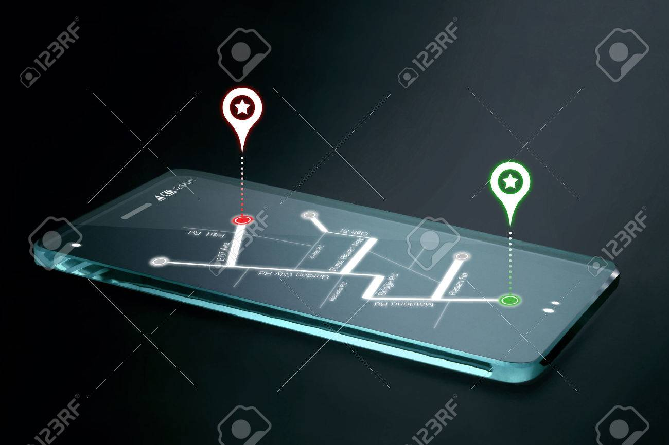 Map and navigation icons on transparent smartphone screen. GPS or Global Positioning System is a network of orbiting satellites that send precise details of their position in space back to earth. - 41802757