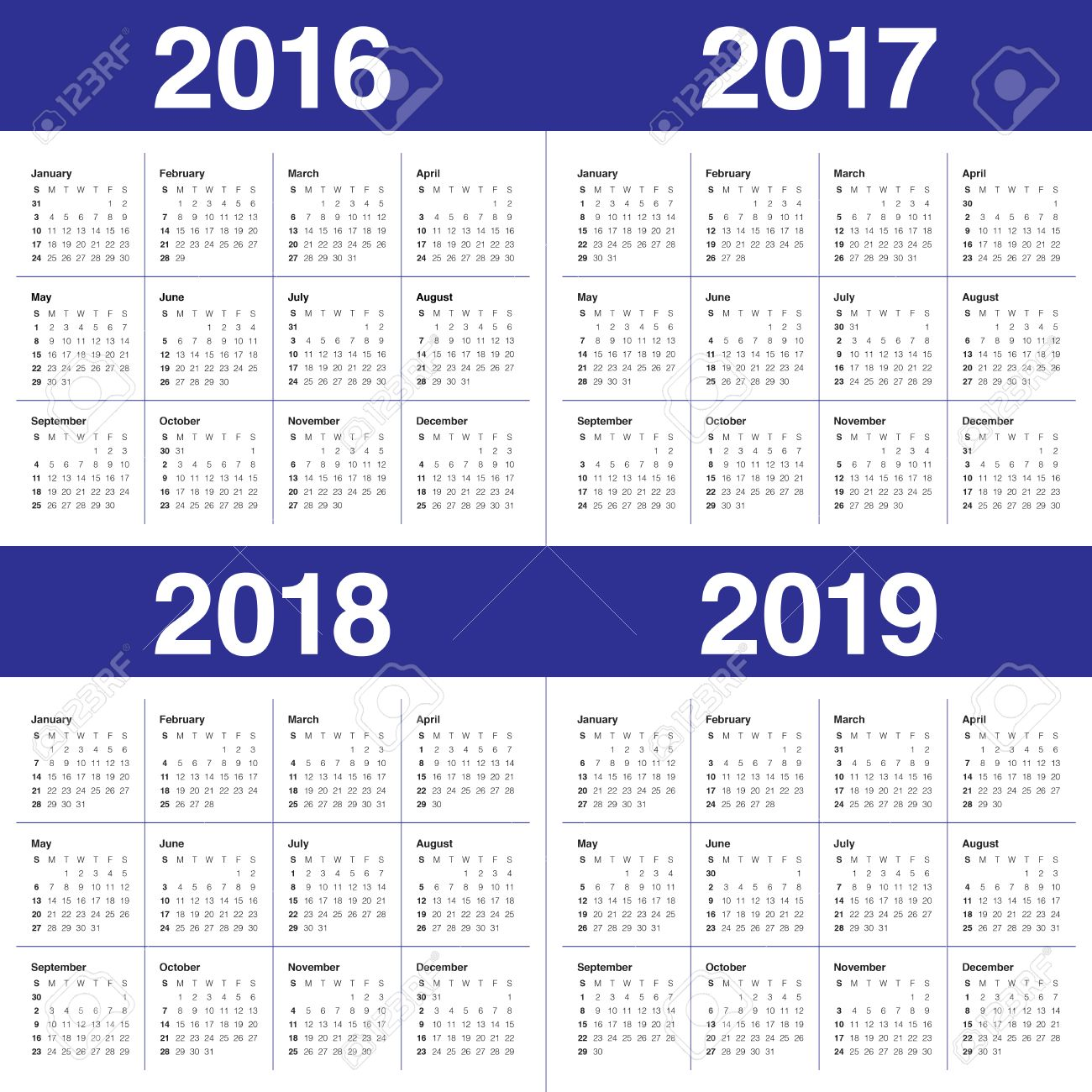 2019 2016 2019 Calendar Simple Calendar For 2016 2017 2018 2019 Royalty Free Cliparts