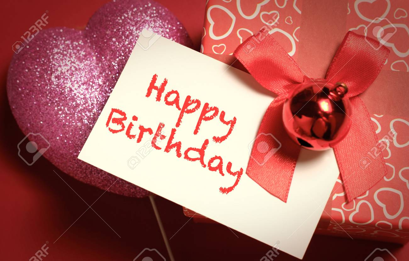 Handmade Happy Birthday Greetings Card On Red Color Gift Box Stock