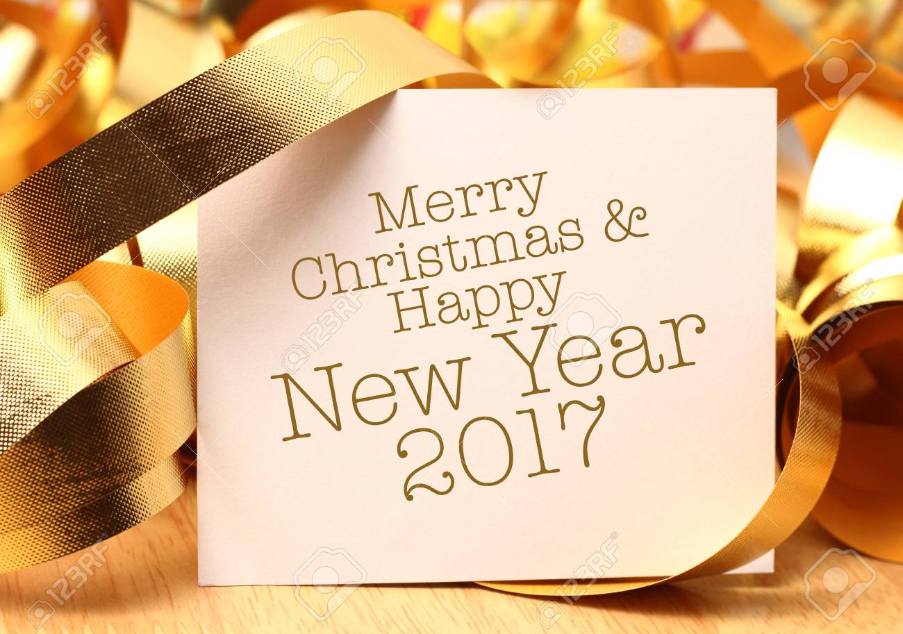 Merry Christmas & Happy New Year Greetings With Gold Decorations ...