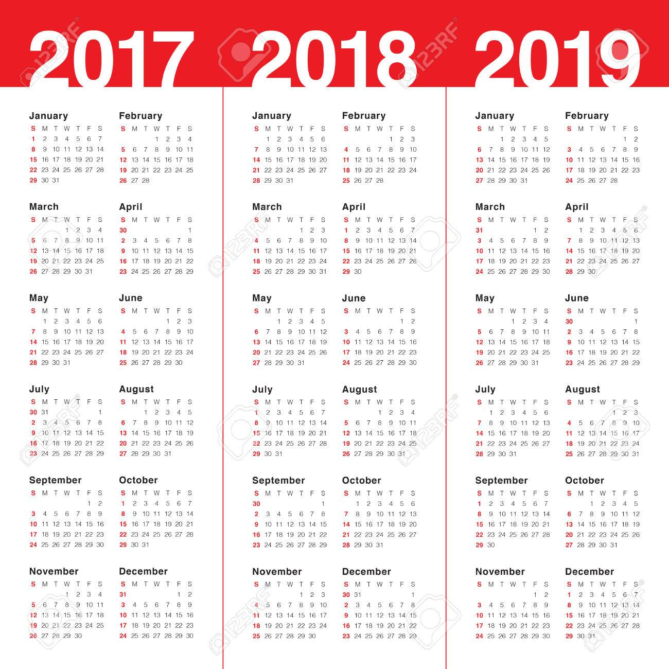 Simple Calendar Template For 2017, 2018 And 2019 Royalty Free ...