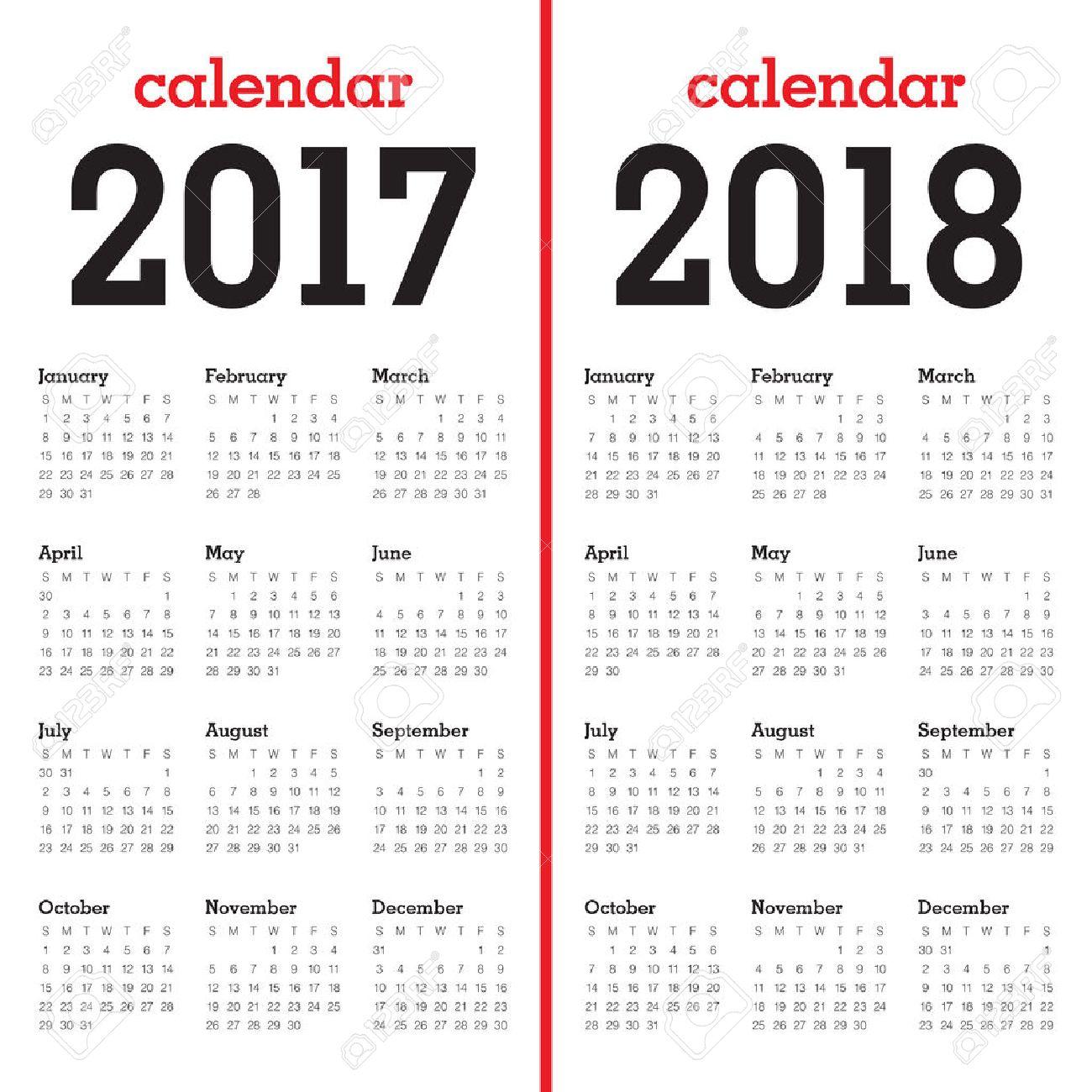 Plantilla Calendario Simple Para El Año 2017 Y El Año 2018 ...