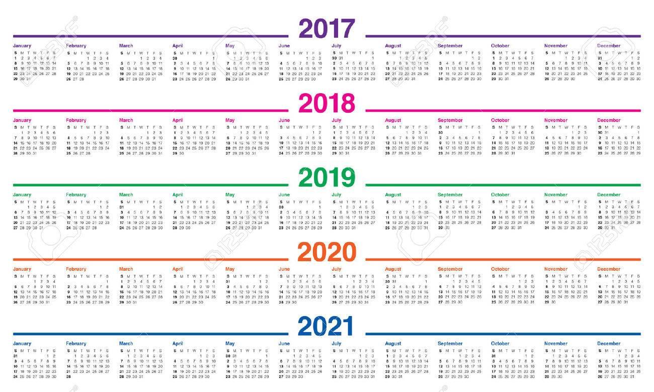 Calendrier 2018 2021 Modèle De Calendrier Simple Pour 2017, 2018, 2019, 2020 Et 2021