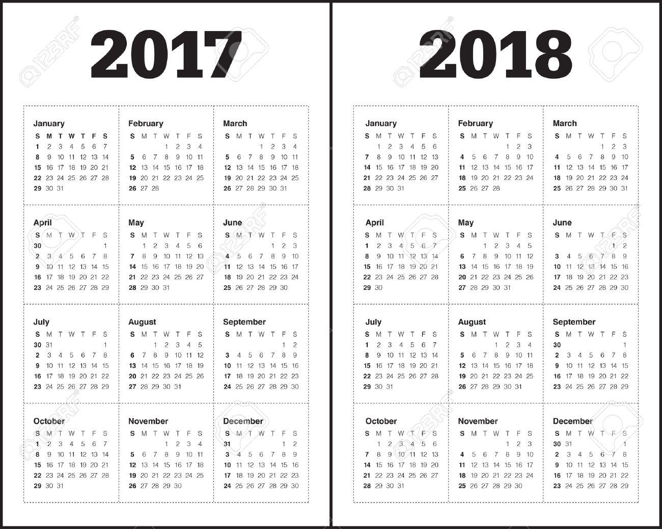 Einfacher Kalender-Vorlage Für Das Jahr 2017 Und Das Jahr 2018 ...