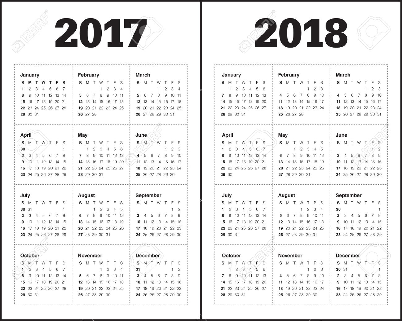 Plantilla Calendario Simple Para El Año 2017 Y El Año 2018 ...