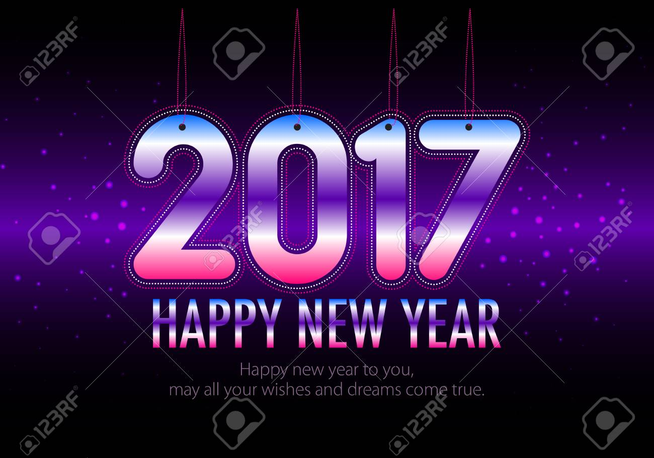 Happy New Year 2017 Colorful Wallpaper Welcome 2017 Royalty Free