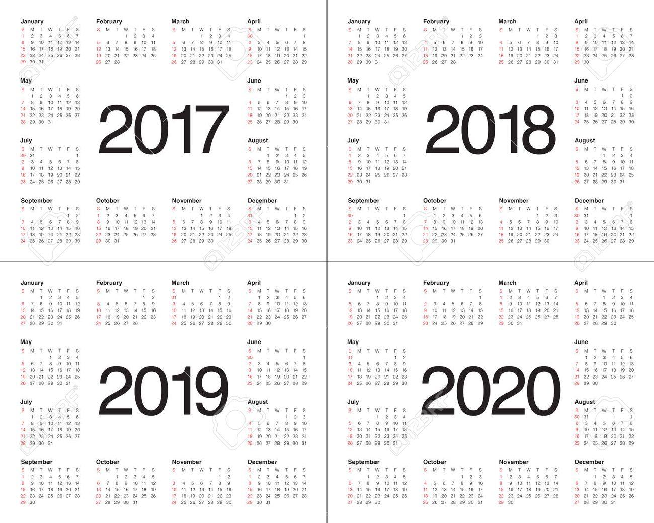 Einfacher Kalender-Vorlage Für 2017, 2018, 2019 Und 2020 Lizenzfrei ...