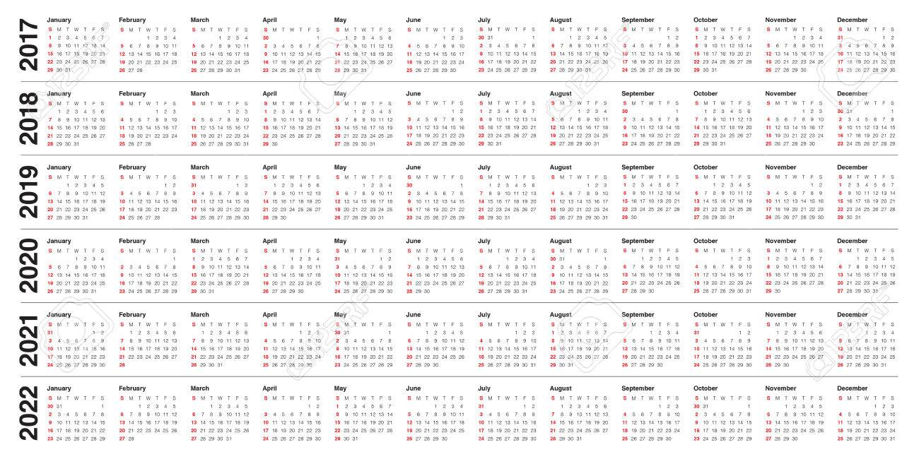 Simple Calendar Template For 2017, 2018, 2019, 2020, 2021 And ...