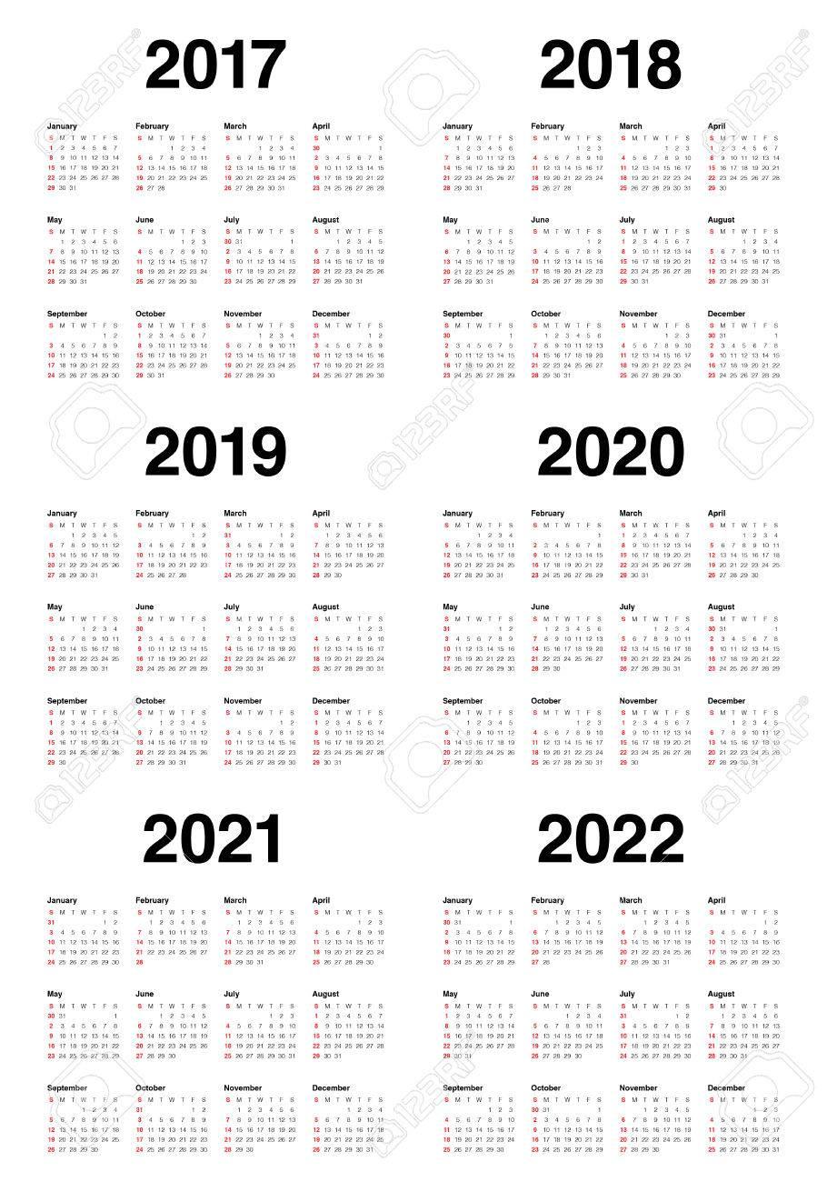 Modèle De Calendrier Simple Pour 2017, 2018, 2019, 2020, 2021 Et