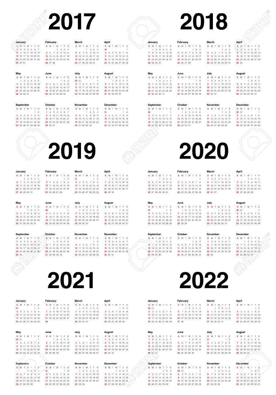 simple calendar template for 2017 2018 2019 2020 2021 and 2022 stock