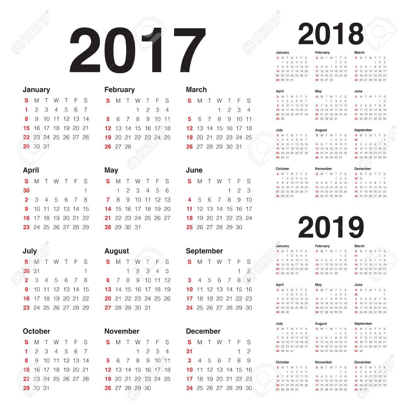 Einfacher Kalender-Vorlage Für 2017, 2018 Und 2019 Lizenzfrei ...