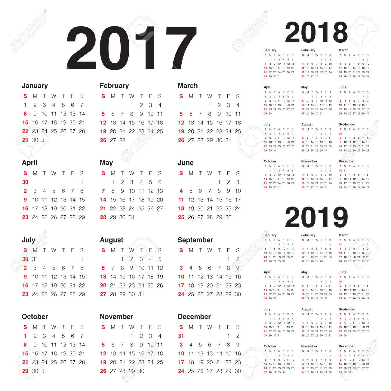 simple calendar template for 2017 2018 and 2019 stock vector 67720960