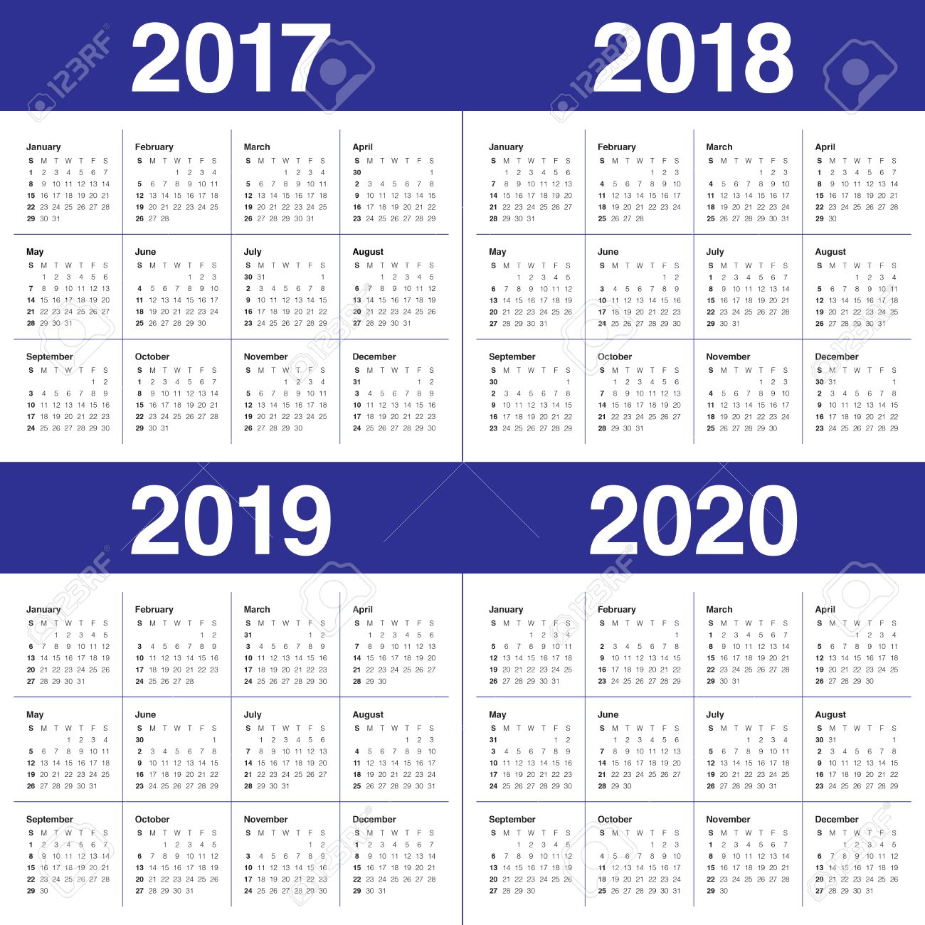 Simple Calendar Template For 2017, 2018, 2019 And 2020 Royalty Free ...
