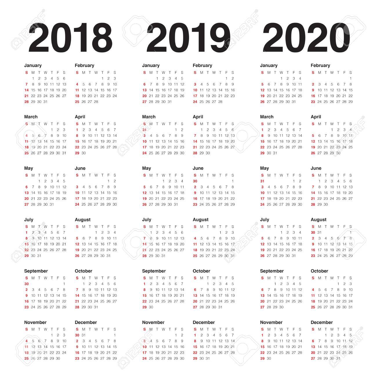Ano 2020 Calendario.Ano 2018 2019 2020 Calendario Plantilla De Diseno Vectorial Diseno Sencillo Y Limpio