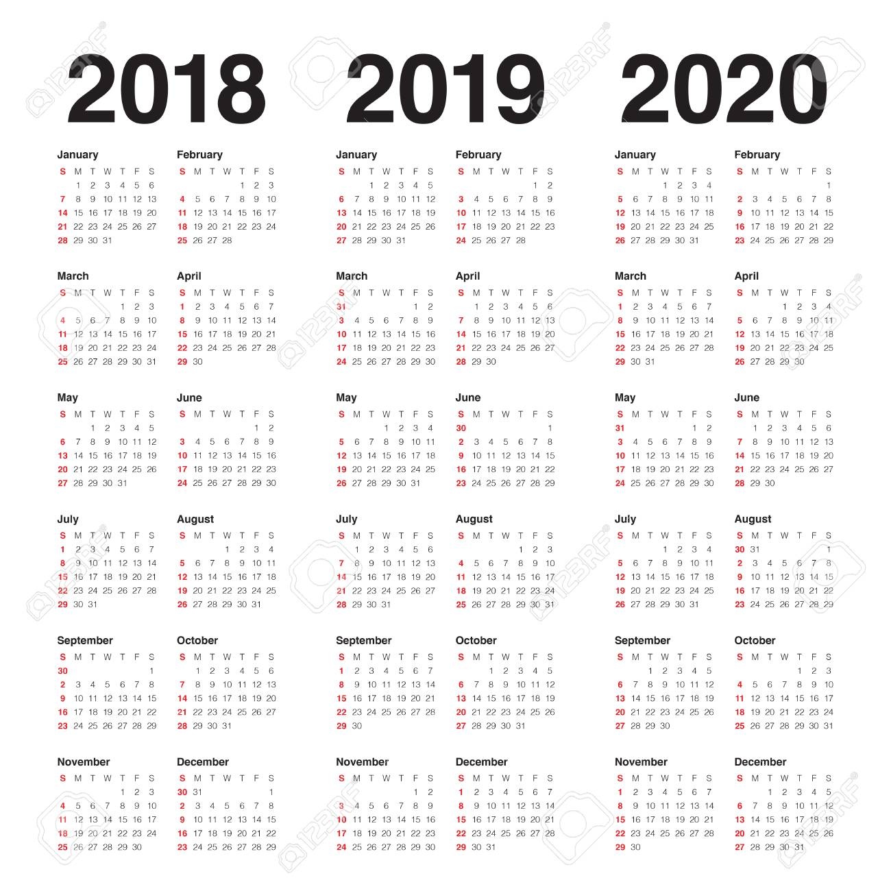 vector year 2018 2019 2020 calendar vector design template simple and clean design