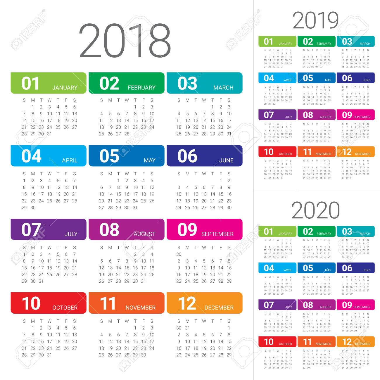 Modello Calendario 2020.Year 2018 2019 2020 Calendar Vector Design Template Simple And