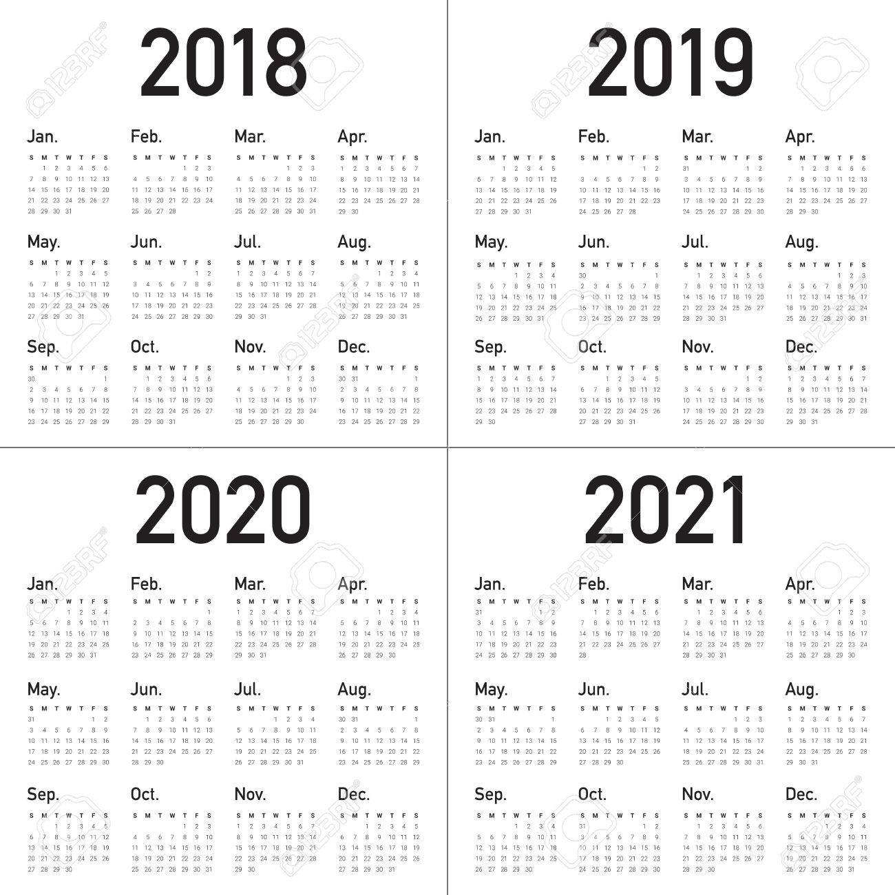 Calendario 2020 Y 2019.Ano 2018 2019 2020 2021 Plantilla De Diseno Vectorial Calendario Diseno Simple Y Limpio