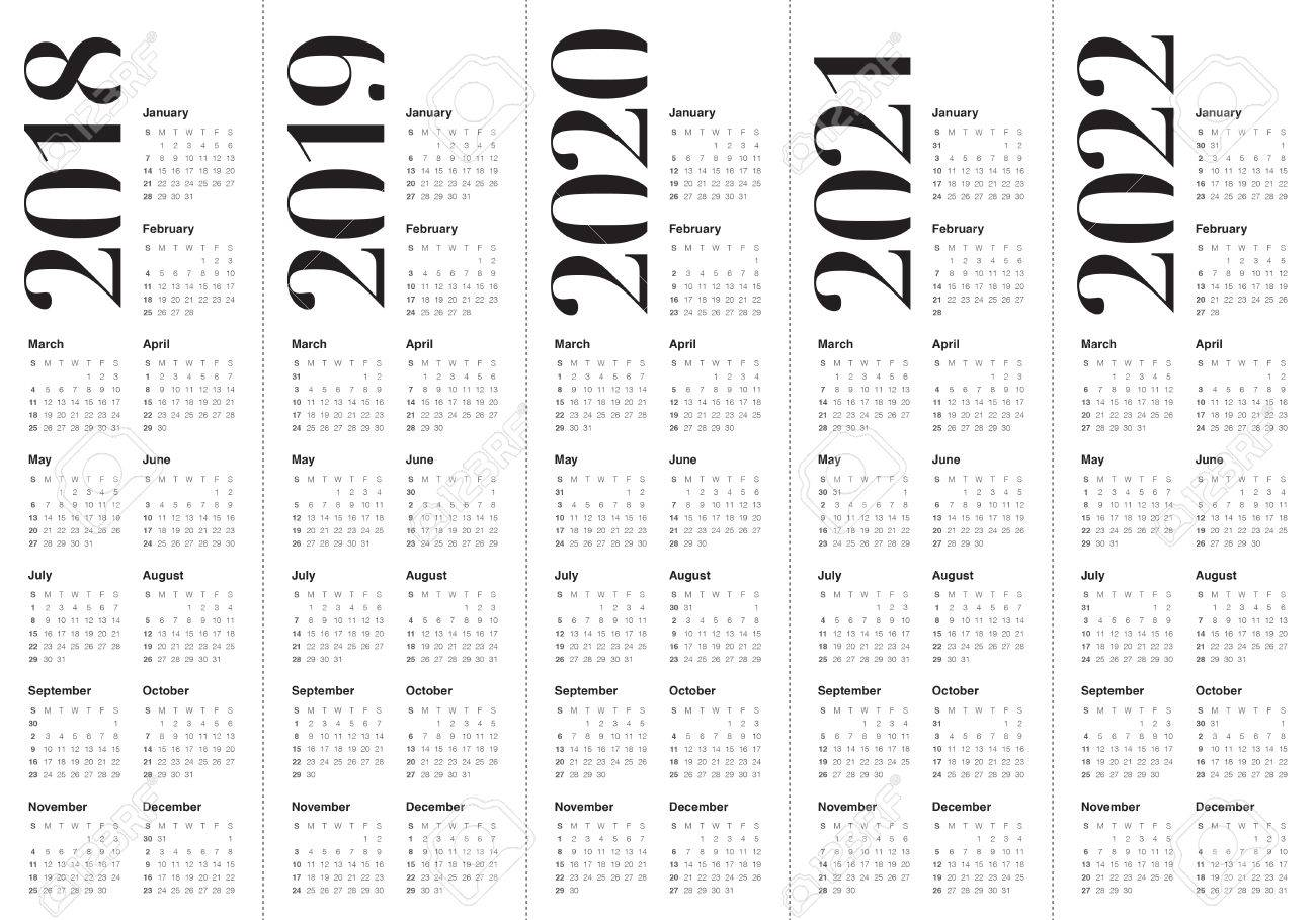 vector year 2018 2019 2020 2021 2022 calendar vector design template simple and clean design